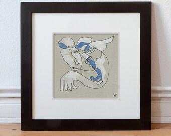 Original image 15/15 cm (5.9/5.9 inch) people abstract/Modern Art