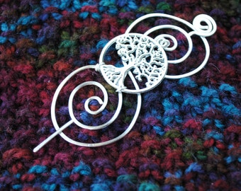 Tree of Life Shawl Pin in Silver