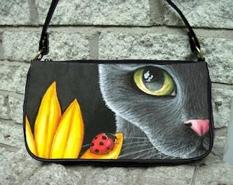 Clutch or Sling Bag Purse black Cat 510 ladybug art painting L.Dumas
