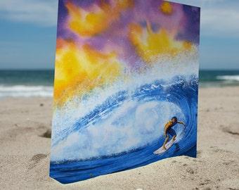 Surf Art, Surfer Art Print, Beach Art, Wave Art, Tropical Art, Gift for him, Boyfriend, Surfing, Hawaii Art, Surfboard Art, Sunset Art