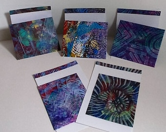 Gelli printed envelopes with folded matching note cards