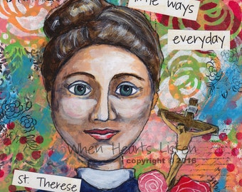 St Therese of Lisieux - St. Therese - Therese of the Little Flower - Confirmation gift - Saint Art - personalized art - st. therese painting