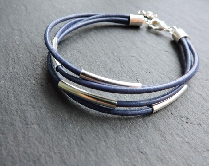Purple Leather & Silver Multi-strand Bracelet - Dark Lilac Indigo leather cord strand bead wrap bracelet with silver tube bar detail