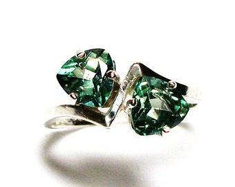 "Topaz ring, green topaz, anniversary ring, green ring, 2 stone ring, green,  s 7 ""Doublemint"""