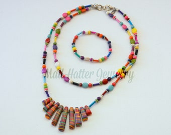 Multi-colored Necklace and Bracelet Set