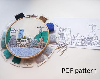 Rio de Janeiro Hand Embroidery pattern PDF. Embroidery Hoop art, Wall Decor, Housewarming Gift. Free Hand embroidery guide!
