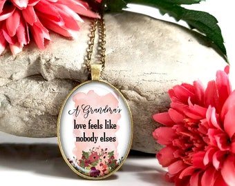 A Grandma's Love Is Like Nobody Elses-Large Oval- Glass Bubble Pendant Necklace