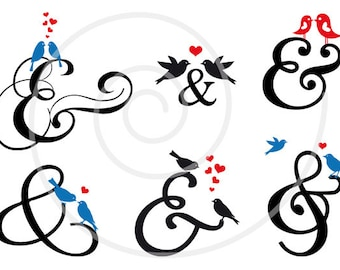 Wedding clip art, 36 ampersand signs, wedding invitaion, et digital clipart set, commercial use, EPS, SVG files, instant download