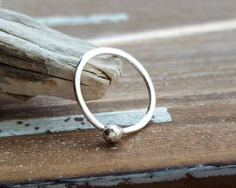 Small Hoop Earring, Argentium Silver 18g 12mm ID Sleeper Hoop, Artisan Body Jewelry