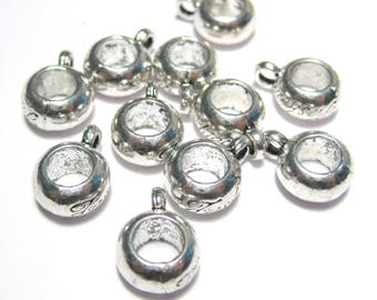 Antique Silver Round Bails Beads European Charm Style Bail
