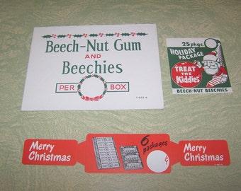 Vintage Beech-Nut gum Beechies Christmas store advertising Santa