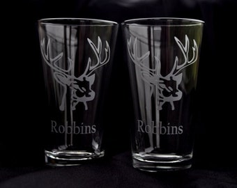 Pair of Etched Deer Buck  Hiball Tumblers - for the Hunter, Sportsman, Outdoors man Deer Hunter  by Jackglass on Etsy