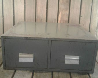 Vintage Grey Two Draw File Cabinet