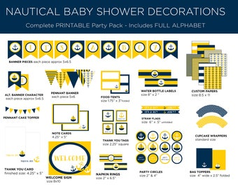 Printable Party Pack - Nautical Baby Shower - Nautical Party Pack - Nautical Theme - Boy Baby Shower - Yellow and Navy