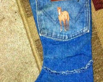 Vintage Handmade Denim Wrangler Jeans Western Horse Stocking