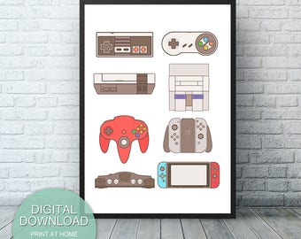 Nintendo Game Decor, Game room decor, dorm decor, Nintendo Wall Art, video game room, Game Controllers, Video Game Art, Digital Download