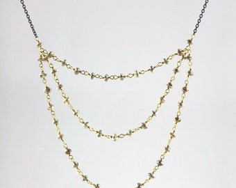 Champagne Diamond Bead Multi Chain Necklace in 18k Gold and Oxidized Sterling Silver