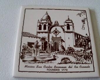 Pilkington England Ceramic Tile Painting Mission San Carlos Borromeo Del Rio