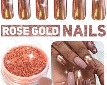 ROSE GOLD Chrome mirror powder pigment dust + 2 applicator brushes for nail art design