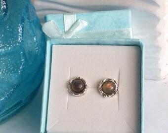 Labradorite earrings, Silver stud earrings, Silver earrings, Silver studs, Small silver studs, Studs, Stone earrings, Birthday gift