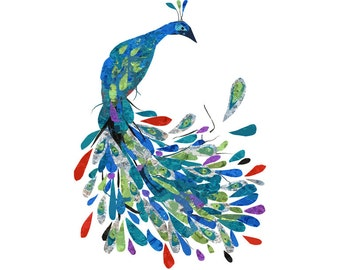 Peacock 8.5 x 11 Print of an Original Collage