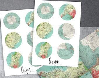 Blue Vintage Maps