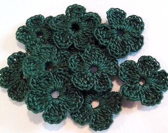 Crochet Flowers applique Set of  10 Pz Crochet Mini Flowers / Crochet Scrapbooking/Crochet Appliques/ Mini green Crochet flowers