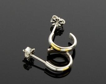Handmade Silver and Gold Hoop Post Earrings