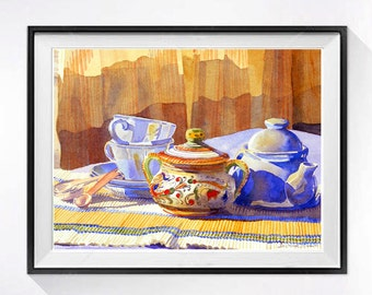 Teapot Art Print, Still life, Tea set wall art, Warm, Colorful, Teacup artwork, Orange blue painting, Light and shadow, Watercolor Print