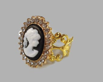 Cameo Ring Victorian Inspired Adjustable Ring Filigree Cameo Ring