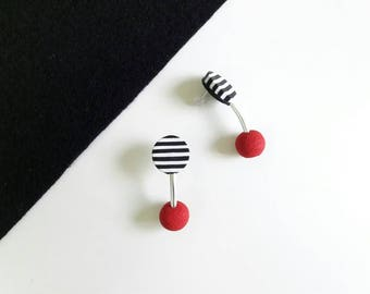 polymer clay earrings, modern earrings,stud earrings,red earrings,chanky earrings,striped stud earrings