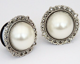 "Antique Silver Pearl Ear Plugs / Gauges 14mm (9/16""), 16mm (5/8""),18mm (11/16""), 20mm PAIR"