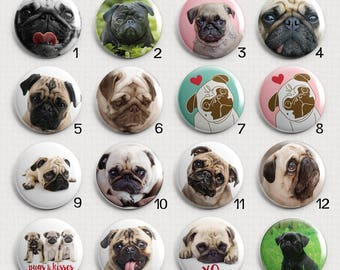 Pug Faces Interchangeable Magnetic Pendant Toppers or Refrigerator Magnets - Choose Individuals, the Set or Make a Necklace