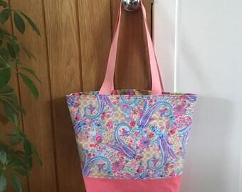 Pink Paisley pattern beach bag