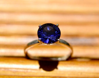 Sapphire Sterling Silver Ring, Dark Blue Sapphire Solitaire Ring, September Birthstone, Bridesmaids Gifts