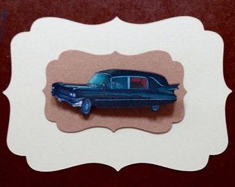 Black Cadillac hearse brooch, Cadillac hearse brooch, Black hearse pin, Cadillac hearse, Cadillac, Hearse
