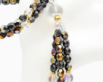 Gold/Black Faceted Crystal, Clear Crystal & Gold - Nichiren Beads - Buddhist Prayer Beads - SGI Beads