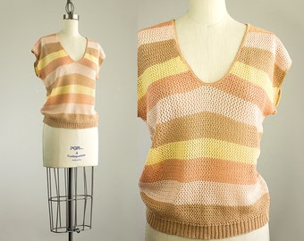 Cherie Vintage // 80s Vintage Peach Ecru Tan Striped Pointelle Knit Sweater Top / Size Small