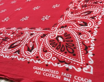 1950's Guaranteed Fast Color Paisley Hearts Pinwheel dots Print red Bandana 19x20 hemmed all Cotton selvedge #67