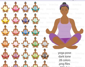 Yoga Pose Dark Tone Icon Digital Clipart in Rainbow Colors - Instant download PNG files