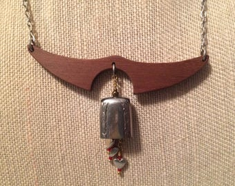 Knife bell necklace - falling hearts