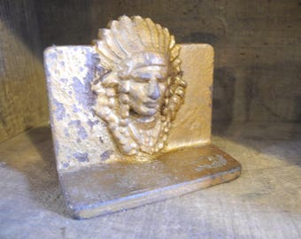 Cast Indian Chief Bookend Door stop. Rustic Primitive Native American Bookends Doorstop Display