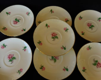 Homer Laughlin/ Rose Pattern/Georgian Eggshell China/Set of Six Saucers