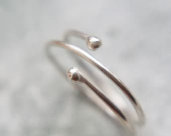 Double Wrap Around Ring, Silver Ball Ring, Dainty Silver Ring, Statement Silver Ring