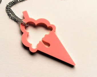 Cute Pink Ice Cream Large Pendant Long Necklace