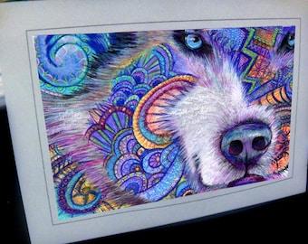 greeting card print of original art-  Alaskan malamute husky dog  Zentangle