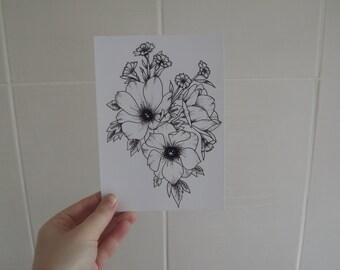 Dot Work Flower Design Print