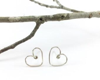 Silver heart stud earrings, Gold heart stud earrings