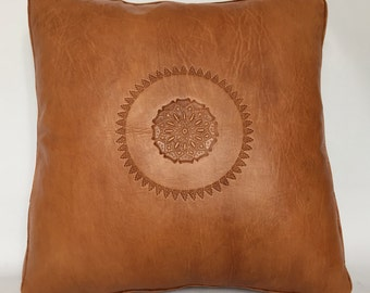 Leather Cushion Cover | Accent Pillow Couch | Handmade pillow | | Throw Pillow | Moroccan, Arabic & Luxurious Design 50x50 cm