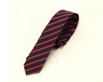 1950s necktie striped necktie Resilio tie red white blue diagonal stripe skinny tie